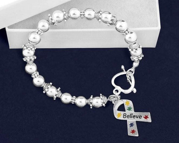 Believe Puzzle Piece Ribbon Beaded Bracelet for Autism Awareness - The House of Awareness