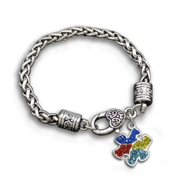 Multi Color Rhinestone Autism Awareness Charm Bracelet - The House of Awareness