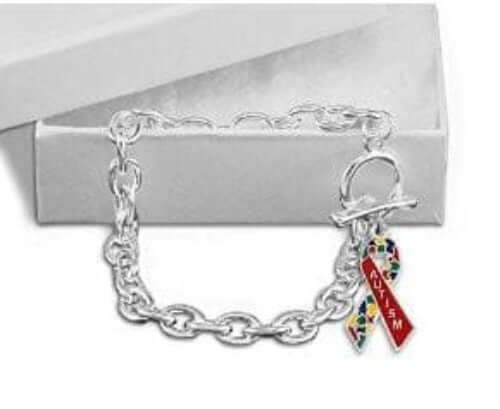 Autism Awareness Ribbon Chunky Charm Bracelet - The House of Awareness