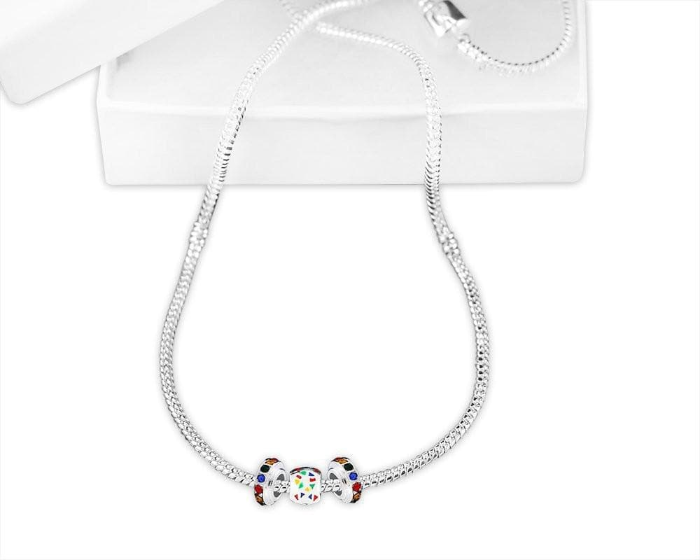Autism Ribbon Charm Necklace with Box - The House of Awareness