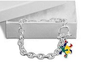 Autism Colored Puzzle Piece Chunky Charm Bracelet - The House of Awareness