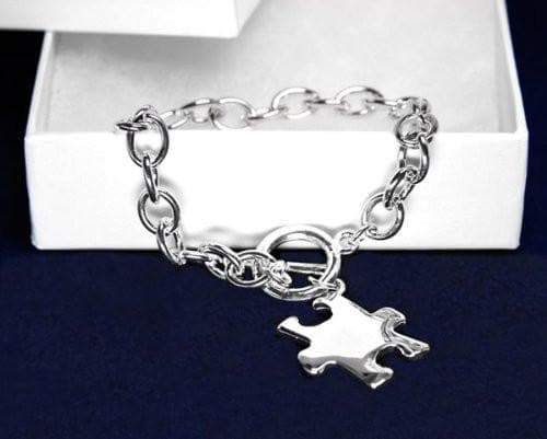 Autism and Aspergers Awareness Puzzle Bracelet-Chunky Silver Bracelet with Puzzle Charm , Bracelets - The House of Awareness, The House of Awareness  - 1