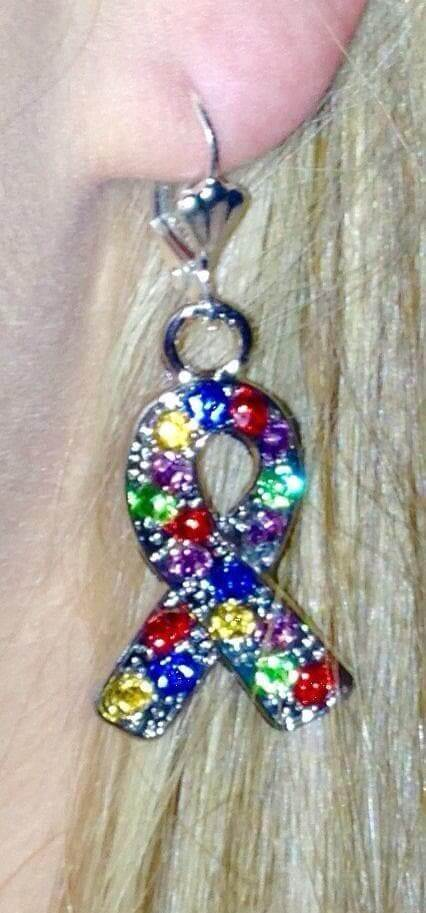 Autism Awareness Crystal Silver Ribbon Earrings - The House of Awareness