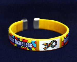 Autism and Asperger Chid Size Ribbon Fabric Bangle Bracelets -Autism Awareness - The House of Awareness