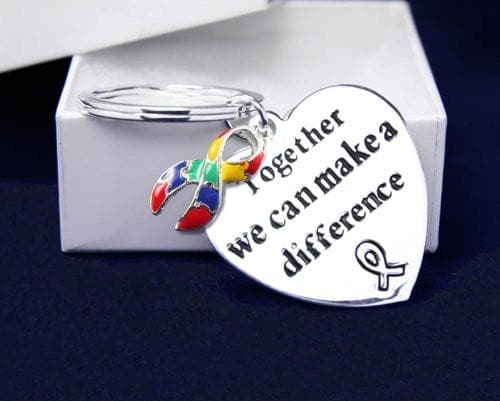 "Autism Awareness Ribbon Key Chain with words ""Together We Can Make A Difference"" - The House of Awareness"