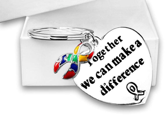 Autism Awareness Ribbon Key Chain with words