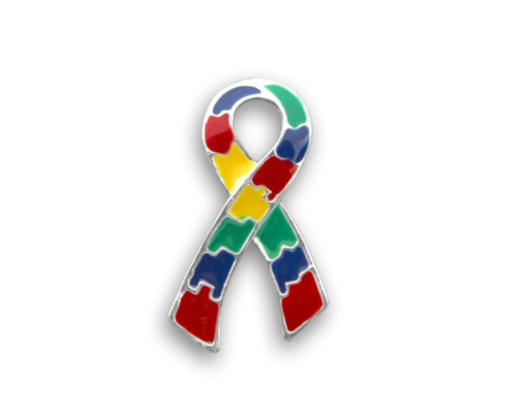 Large Flat Autism and Aspergers Ribbon Pin - The House of Awareness
