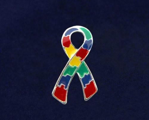 Large Flat Autism and Aspergers Ribbon Pin , Pins & Brooches - The House of Awareness, The House of Awareness  - 2