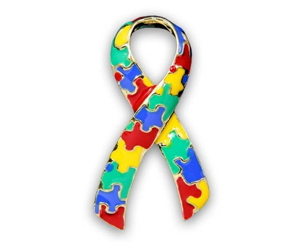 Autism and Aspergers Ribbon Pins - Large Ribbon , Pins & Brooches - The House of Awareness, The House of Awareness  - 2
