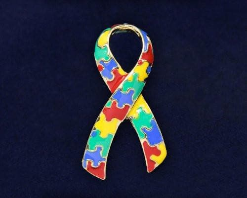 Autism and Aspergers Ribbon Pins - Large Ribbon - The House of Awareness