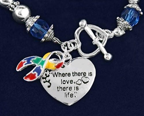 Autism and Aspergers Awareness Ribbon Bracelet - Where There Is Love , Bracelets - The House of Awareness, The House of Awareness  - 3