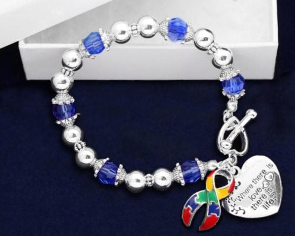 Autism and Aspergers Awareness Ribbon Bracelet - Where There Is Love , Bracelets - The House of Awareness, The House of Awareness  - 2