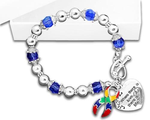 Autism and Aspergers Awareness Ribbon Bracelet - Where There Is Love , Bracelets - The House of Awareness, The House of Awareness  - 1