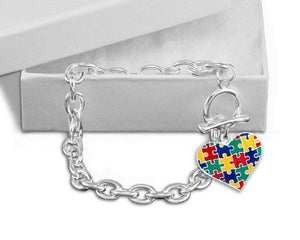 Autism Colored Puzzle Heart Chunky Charm Bracelet - The House of Awareness