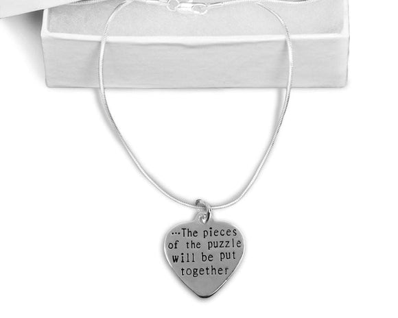 Autism Puzzle Pieces Together Necklace - The House of Awareness