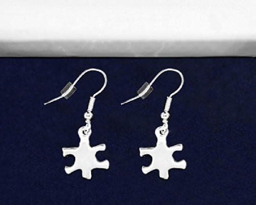 Autism Awareness Silver Puzzle Piece Earrings - The House of Awareness