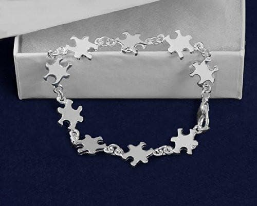 Autism Silver Linked Puzzle Bracelet - The House of Awareness