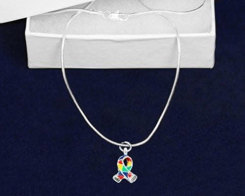 Silver Trim Autism ASD Awareness Ribbon Necklace and Earring Set - The House of Awareness
