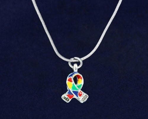 Silver Trim Autism Awareness Ribbon Necklace with Gift Box - The House of Awareness