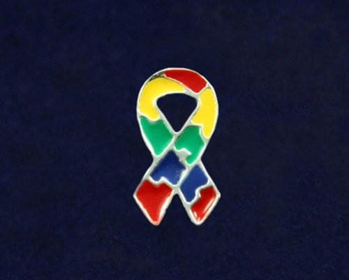 Small Flat - Autism and Aspergers Ribbon Pin - The House of Awareness