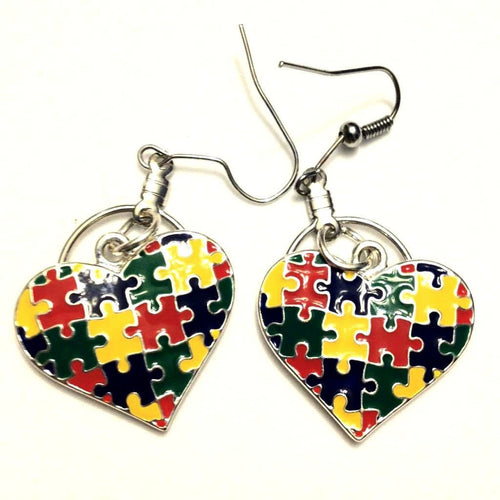 Small Hoop Autism Heart Charm Earrings - The House of Awareness