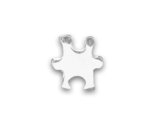 Small Silver Autism and Aspergers Awareness Puzzle Piece Tac Pin , Pins & Brooches - The House of Awareness, The House of Awareness  - 1