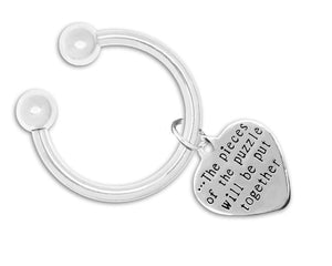Puzzle Pieces Together Heart Key Chain - The House of Awareness