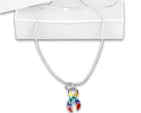 Autism Awareness Puzzle Charm Necklace with 18