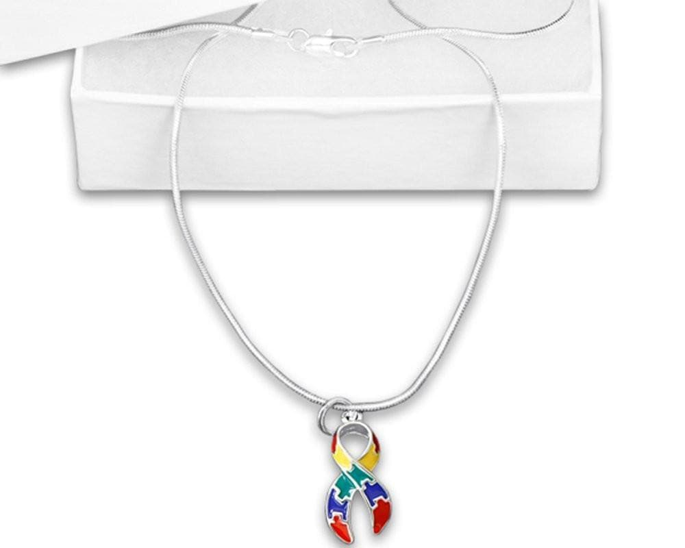 "Puzzle Charm 18"" Necklace for Autism Awareness paired with Hoop Earrings - The House of Awareness"