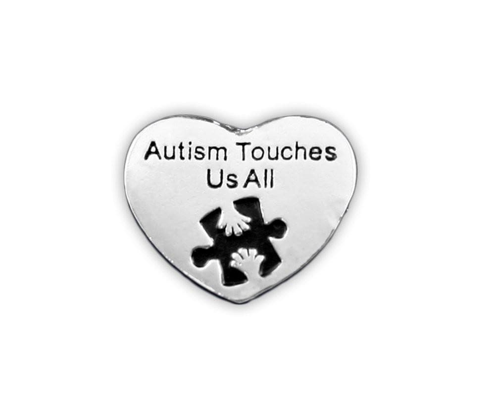 Autism Awareness Heart Pin - Autism Touches Us All - The House of Awareness