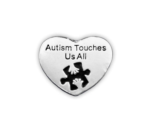 Autism Awareness Heart Pin - Autism Touches Us All , Pins & Brooches - The House of Awareness, The House of Awareness  - 1