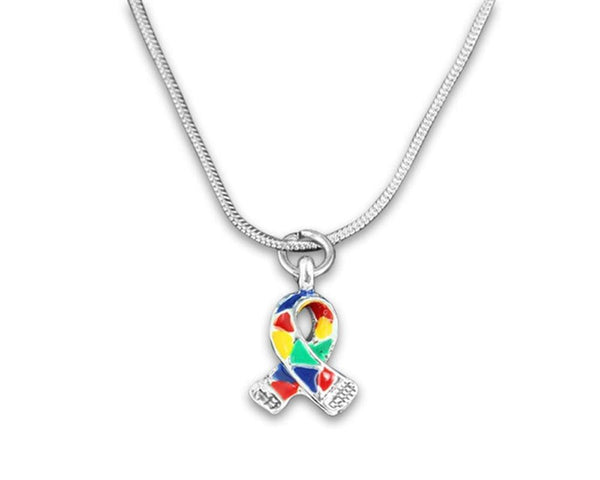 Silver Trim Autism ASD Awareness Ribbon Necklace and Earring Set , Jewelry Sets - The House of Awareness, The House of Awareness  - 3