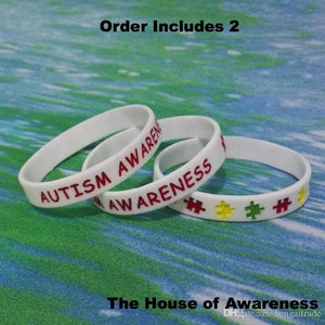 2 Autism Awareness Silicone Adult Size Bracelets - The House of Awareness