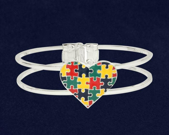Autism Awareness Bangle Multicolor Puzzle Heart Bracelet - The House of Awareness