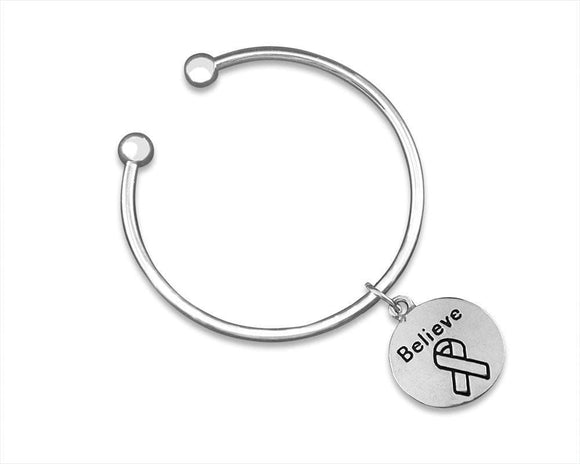 Open Bangle Bracelet with Believe Ribbon Charm for Causes - The House of Awareness