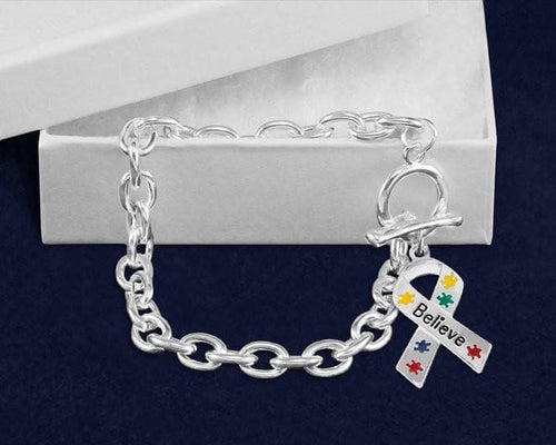 Believe Puzzle Piece Ribbon Chunky Charm Bracelet for Autism Awareness - The House of Awareness