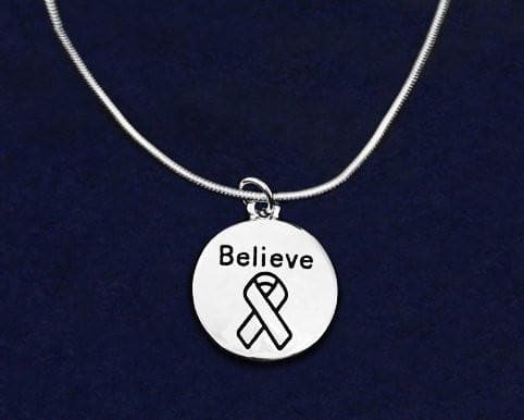 Silver Circle Believe Necklace for all Causes - The House of Awareness