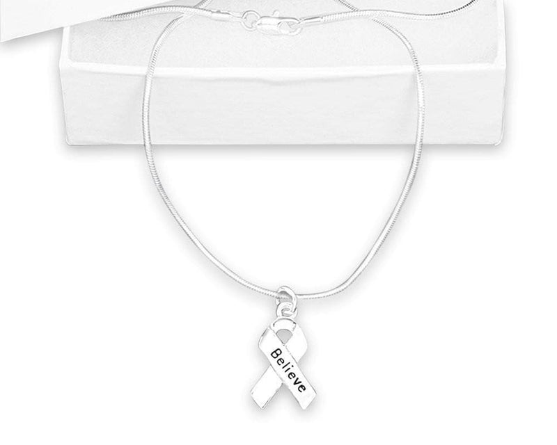 Silver Ribbon Believe Necklace for Mental Health Awareness - The House of Awareness
