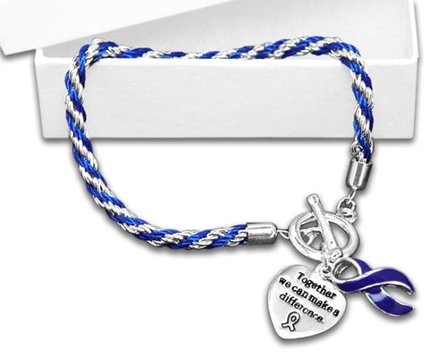 Child Abuse Awareness Dark Blue Ribbon Bracelet - Rope - The House of Awareness