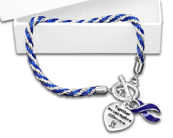 Cancer Awareness Dark Blue Ribbon Bracelet - Rope - The House of Awareness