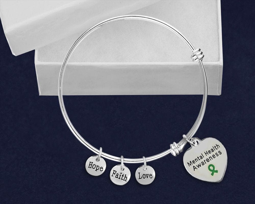 Mental Health Awareness Stainless Steel Retractable Charm Bracelet - The House of Awareness