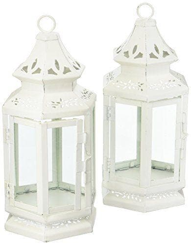 Set of 2 Floral Cutwork White Lanterns