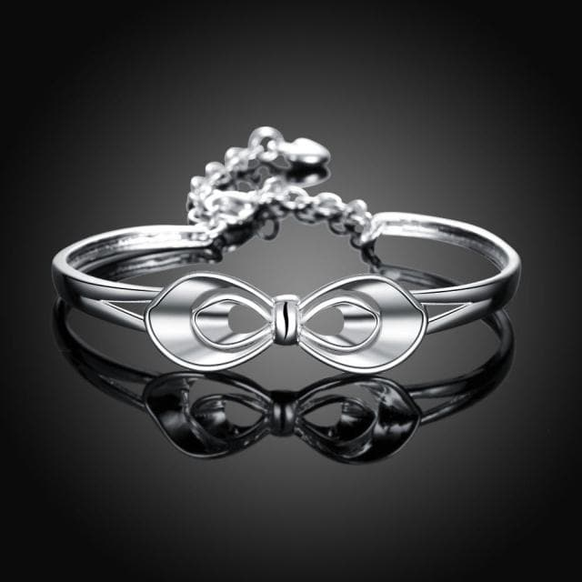 Classical Silver Flower Bangle For Women - The House of Awareness