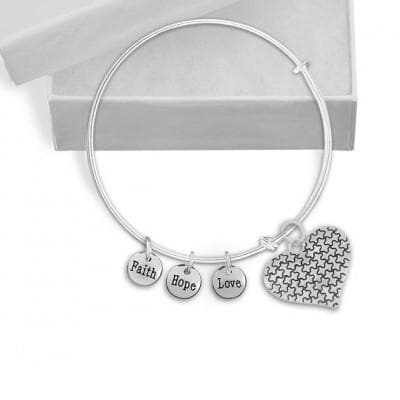 Autism Puzzle Piece Heart and 3 Charms bracelet - The House of Awareness