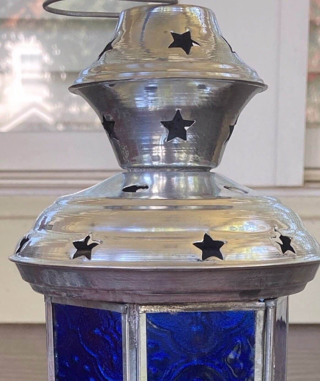 Blue Glass and Silver with Stars Lantern