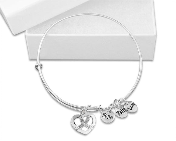 White Crystal Ribbon Retractable Charm Bracelet for Causes - The House of Awareness