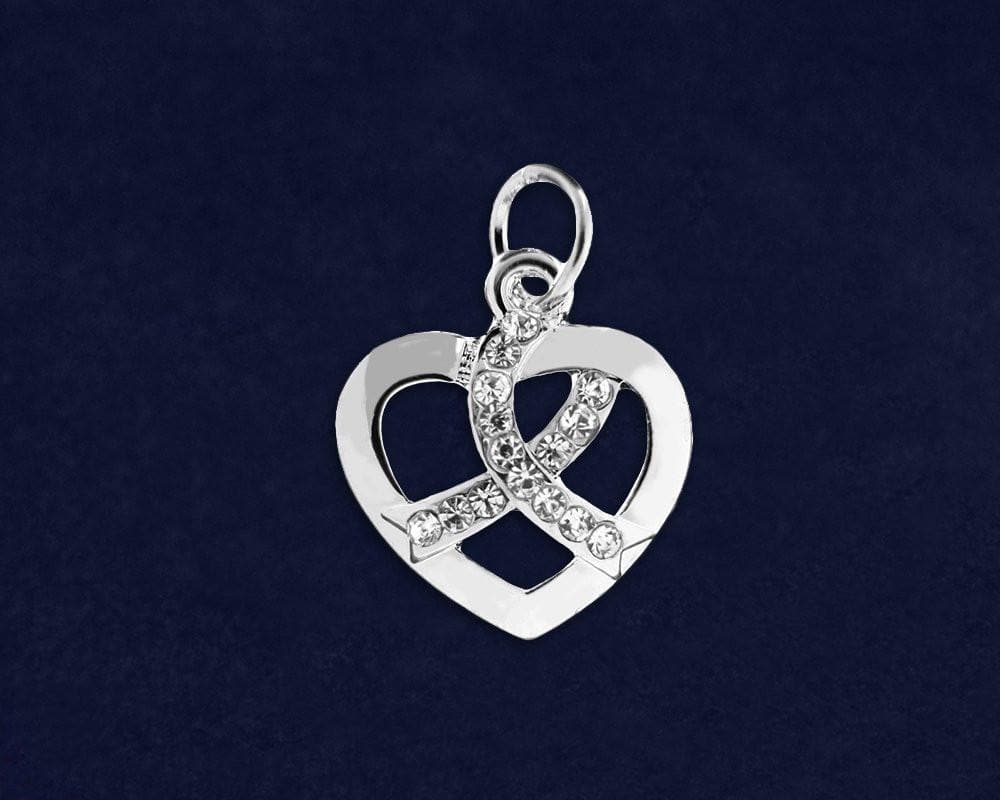 Crystal Ribbon Heart Charm for all Causes - The House of Awareness