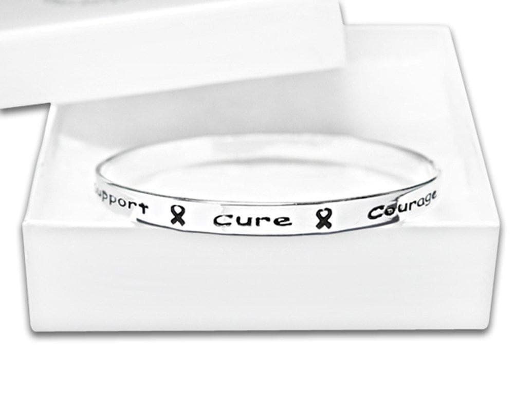 Silver Ribbon Bangle Bracelet with words Support, Cure, Hope, Courage for all causes with Gift Box - The House of Awareness