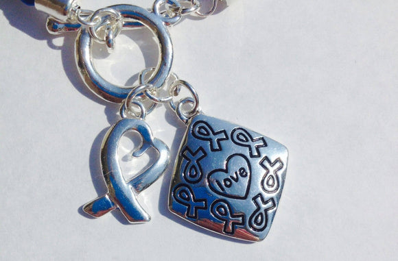 Awareness Causes SUPPORT BLUE Rope Bracelet Puzzle Ribbon and Charm - The House of Awareness
