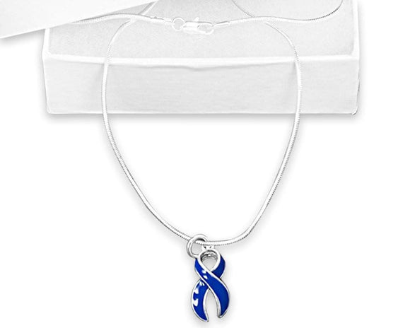 Dark Blue Ribbon Sterling Silver Necklace for all Causes with a Box - The House of Awareness